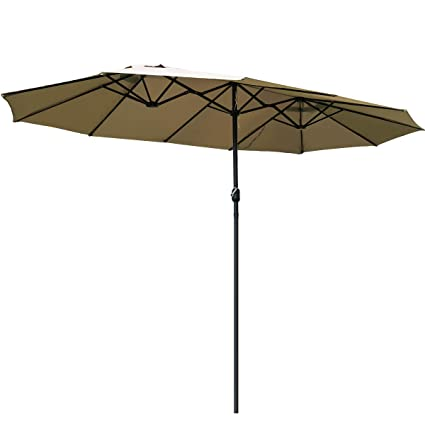 TANGKULA 15 Ft Patio Umbrella Double-Sided Steel Outdoor Market Table Umbrella with Crank (Beige)
