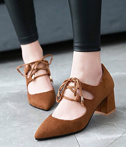 Aisun Womens Gilly Tie Strappy Pointy Toe Low Cut Middle Heel Shoes Club Dressy Chunky Pumps Brown kZyFT6