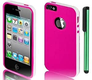 Quaroth 2 in 1 White Plastic / Hot Pink TPU Premium Design Protector Cover Case Compatible for Apple Iphone 5 + Combination...