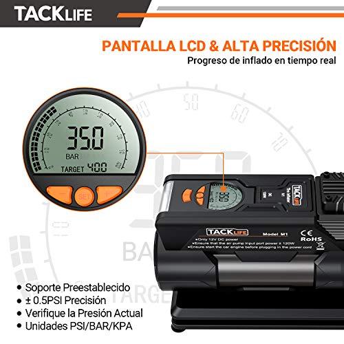 Tacklife M1 Compresor Aire Coche 40l Min Inflador Digital 12v 150psi Poco Ruido Compresor De Aire Bomba Electrico Con Manometro Pantalla Lcd