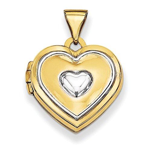 14 carats rhodié 15 mm avec médaillon en forme de cœur-JewelryWeb