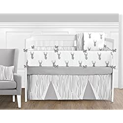 Grey and White Woodland Deer Baby Unisex 9 Piece Crib Bedding Set with Bumper