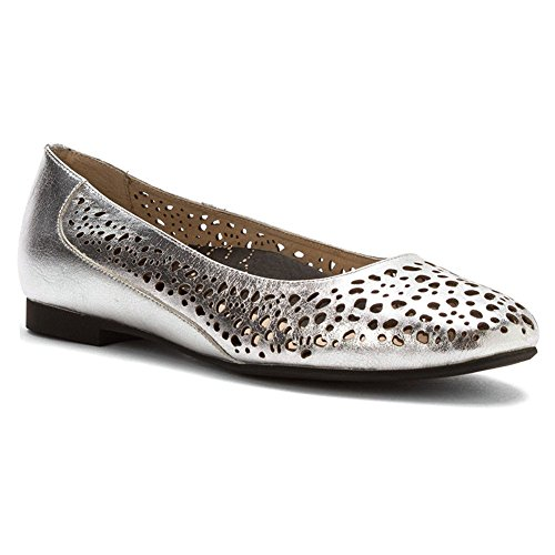 Propet Women's Cicely Ballet Flats, Silver Leather, Rubber, 8 AA