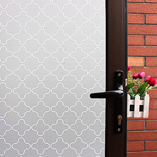 (Mikomer Non Adhesive Privacy Window Film, Static Cling Glass Film, Frosted Window Cling, Removable Heat Control Anti UV Decorative Door Film for Office and Home Decoration,17.5 inches by 78.7 inches)
