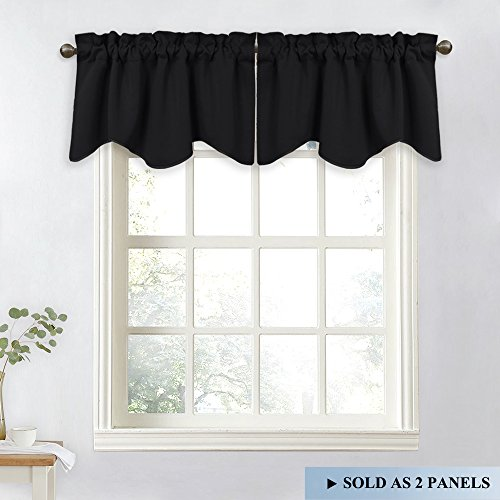 NICETOWN Window Treatment Valance for Bedroom - W52 x L18 Scalloped Valance Blackout Curtain Drapes for Dining Room (Black, Set of 2)