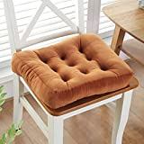W&lx Square floor pillow cushion,Cotton linen non-slip cushion Boosted Thicken 10cm Tufted Padded Chair mat Balcony Windowsill Seat cushioning Backrest For home office-Khaki 50x50cm(20x20inch)