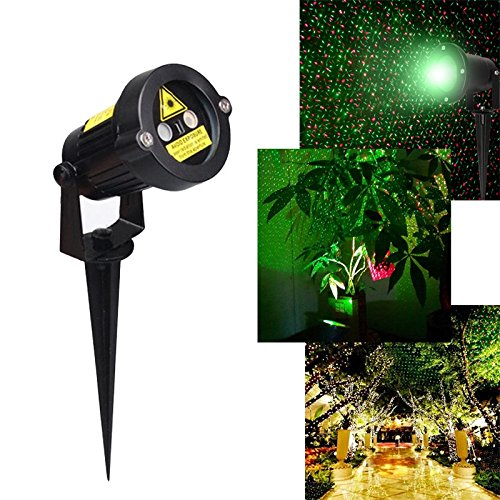 Outdoor Laser Light with IR Wireless Remote, Red and Green Laser Show Garden Decoration Path Party Landscape Light US Plug - 1 Watt Handheld Laser