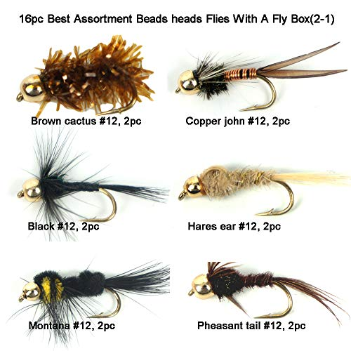 - Riverruns Best Assortment 8 Patterns Bead Head Flies Collection Total 16 Flies with A Fly Box, Hares Ear, Pheasant Tail, Cactus, Prince, zug Bug, Copper John, Montana