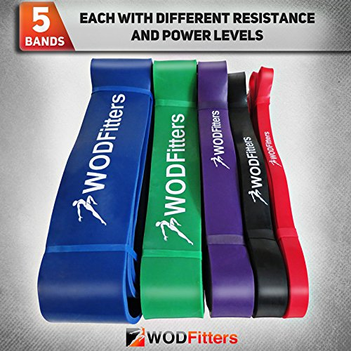WODFitters Stretch Resistance Pull Up Assist Band with eGuide, 5 Blue - 65 to 175 Pounds (2.5'' 4.5mm) by WODFitters (Image #9)