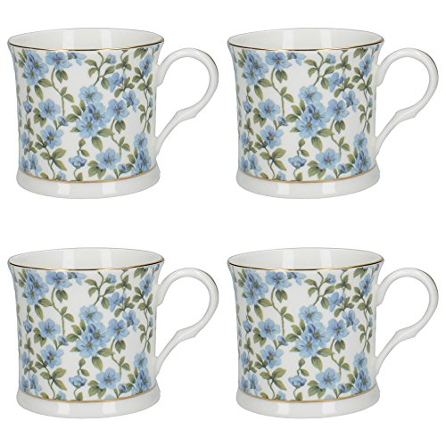CreativeTops Palace-Shape 'Spring Duchess' Fine Bone China Floral-Printed Mugs with Real Gold Rim, 300 ml (10.5 fl oz) - Blue/Green (Set of 4)