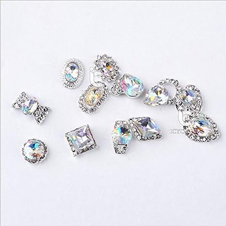 ICYCHEER - Abalorio para decoración de uñas, tamaño grande, aleación y cristales decorativos, diseño de perlas en 3D, acrílico, con purpurina, ...