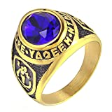 LANCHENEL Men's Smudged Diamond Titanium Steel Colorful Rings,Blue,Size 7
