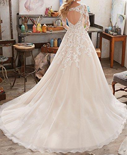Ezotion Womens Sweetheart Lace Long Train Wedding Dress 2017 Ivory