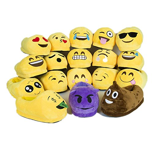 Sabe Unisxe Women Men Home Creative Emoji Cartoon Expression Funny Soft Couple Slippers (One Size, Shit)