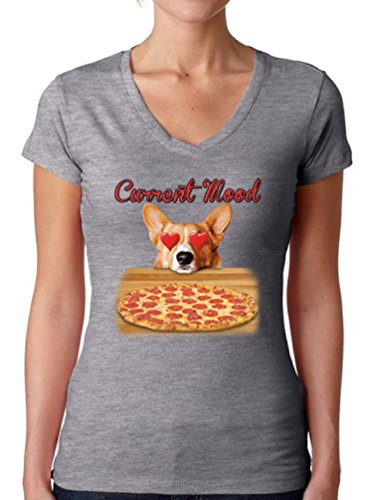 Awkward Styles Women's Current Mood V-Neck T Shirts for Women Funny Dog Pizza Lover Grey XL