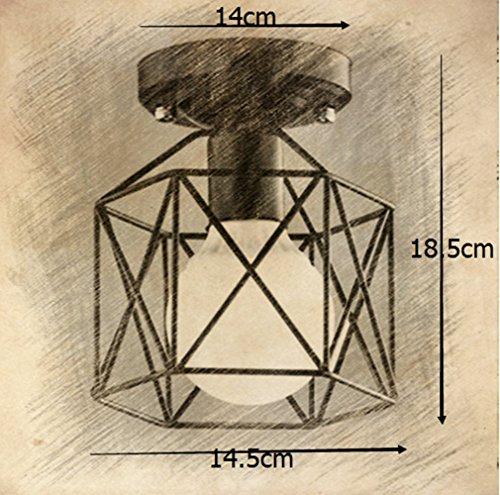 Review RUXUE Industrial Pendant Lighting Vintage Square Cage Semi Flush Mount Ceiling Light Chandelier Black
