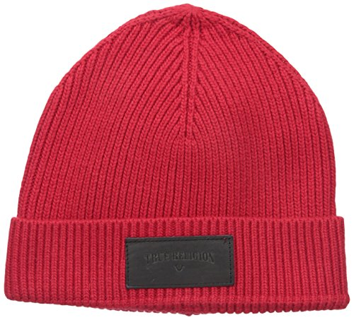 True Religion Men's Ribbed Knit Watchcap With Patch, True Red, One Size
