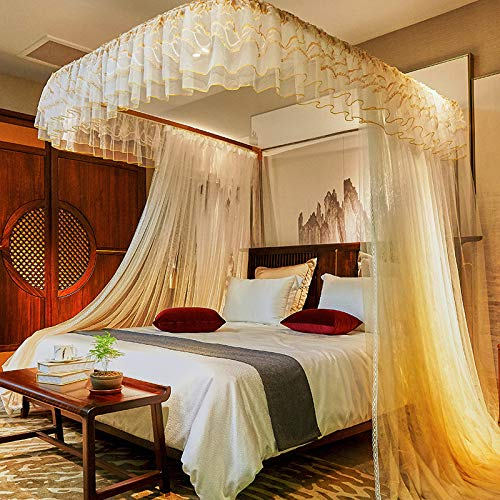 SanQing Mosquito Net Luxury Court Princess Wind Double Lace Encryption Double Bed Mosquito Net,05,150200cm