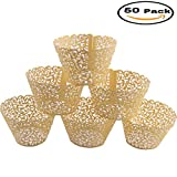 Mydio Set of 50 Cupcake Wrappers Wedding Birthday Decorations, Gold