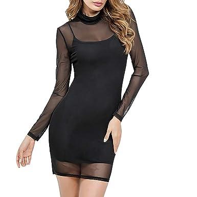 buy online 22ffe ab20b Siswong Vestito da Donna Elegante con Alto-Collare Vestiti ...