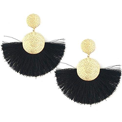 Circle Tassels Earrings, Tassels Pendant Earrings, Designer Tassels Jewelry Making By MeliMe (Black)