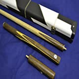 "Handcrafted 3/4 piece Rosewood Inlayed Butt and Ash Shaft Snooker/Pool Cue, White and Black Leather Case, 6"" Mini-Butt."