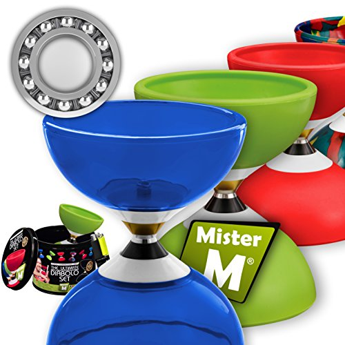 Ball Bearing Diabolo with 3 Ball Bearings + Sticks + Extra String + free  Online Video - Extra Quiet, Super Spin  Designed by Mister M/The Ultimate
