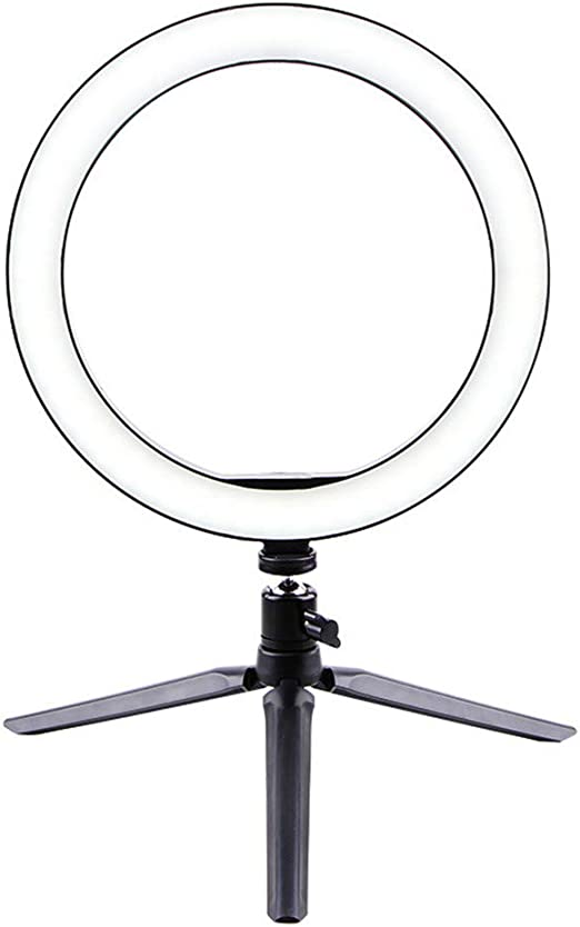 KLI Ring Light with Tripod Stand Photography Lighting,10 withphoneholder Desk Makeup Light with Cell Phone Holder Dimmable for Streaming YouTube Video Shooting