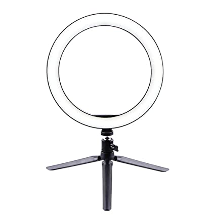 KLI Ring Light with Tripod Stand Photography Lighting,6.3 YouTube Video Shooting Desk Makeup Light with Cell Phone Holder Dimmable for Streaming
