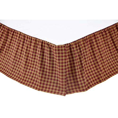 :VHC Brands 9467 Burgundy Check King Bed Skirt - Ruffle Dust Plaid