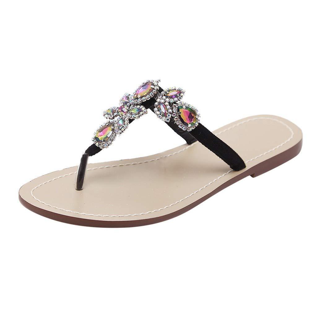 87b397d96d69 Amazon.com  Women s Crystal with Rhinestone Beaded Bohemian Wedding Sandals  Dress Flip-Flop by Lowprofile  Clothing