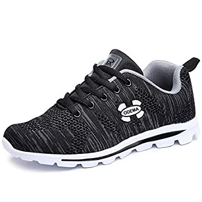Odema Womens Comfort Running Sneakers Lowtop Fashion Sneakers Trainers Sports Lace up Walking Shoes Black