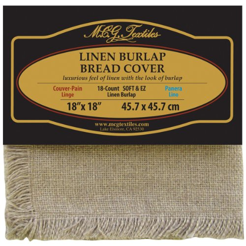 Linen Cross Stitch Fabric (M.C.G. Textiles Soft and EZ Linen Burlap Bread Cover, 18 by 18-Inch, Natural)