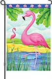 A smiling eye 51087 Garden Illuminated Flag, Pink Flamingos, 12 by 18-Inch