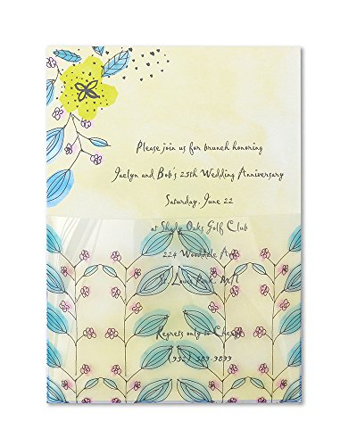 Mara-Mi Watercolor Flowers Acetate Pocket Imprintable Invitation, 10-Count - Invitations Birthday Imprintable
