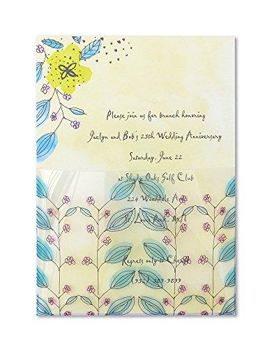 Mara-Mi Watercolor Flowers Acetate Pocket Imprintable Invitation, 10-Count
