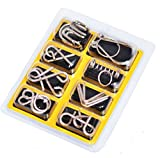 Eshowy IQ Toys IQ Test Mind Game Toys Brain Teaser Metal Wire Puzzles Magic Trick Toy Metal IQ Puzzle Set of 8