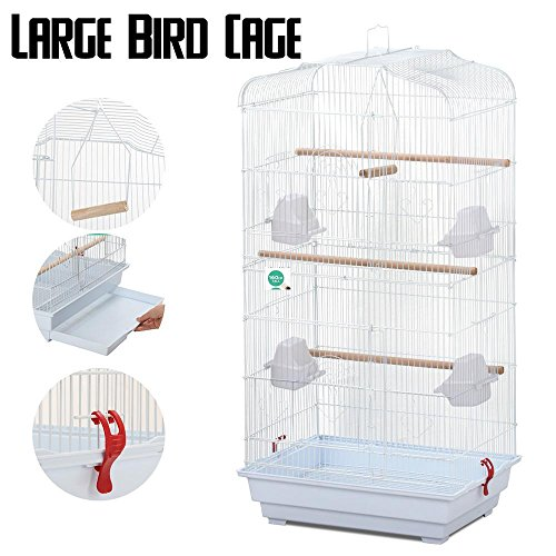 """Yaheetech 36"""" Metal Bird Cage For Parrot Cockatiel Canary Finch (white)"""