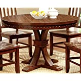 furniture of america castile transitional round dining table dark oak - Round Wood Dining Table