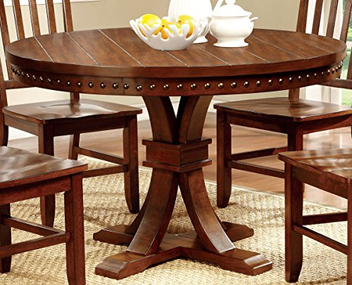 Furniture of America Castile Transitional Round Dining Table, Dark