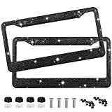 EEEKit Rhinestone License Plate Frame, 2 Packs Pure Handmade Waterproof License Plate Frame Aluminium Metal Chrome Crystal Diamond Bling License Plate with Screw Caps(Black)