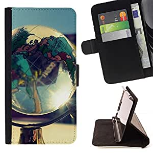 For LG G2 D800 Globe Shine Beautiful Print Wallet Leather Case Cover With Credit Card Slots And Stand Function
