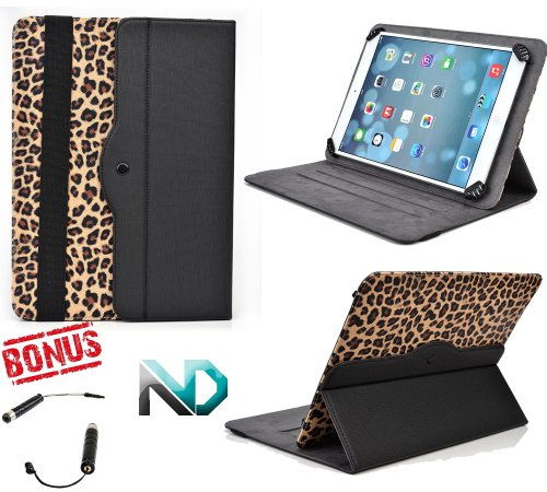"""Tablet Case Stand - Compatible with Amazon Kindle Fire HD (2013) (Black and Leopard Print) Universal for 7 - 8.1"""" tablets 360 Rotating Case and Bonus NextDia Mini Stylus"""