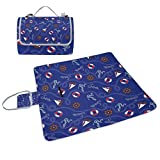 ALIREA Blue Marine Anchors Nautical Pattern Picnic Blanket Tote Handy Mat Mildew Resistant and Waterproof Camping Mat for Picnics, Beaches, Hiking, Travel, RVing and Outings