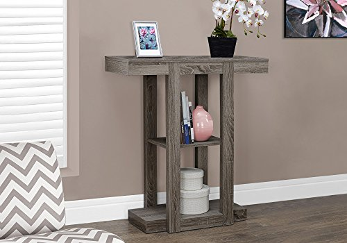 "Monarch Specialties I 2456 32"" Hall Console Accent Table, 32"", Dark Taupe - Three-tiered design for added display space Modern, straight-lined design Can be used as a sofa or hall console table - living-room-furniture, living-room, console-tables - 51Y8oiRBBRL -"