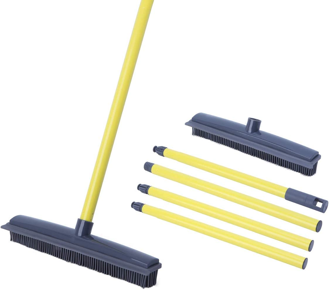 Soft Push Broom Bristle Rubber Broom Carpet Sweeper 59'' with Squeegee Adjustable Long Handle, Removal Pet Human Hair