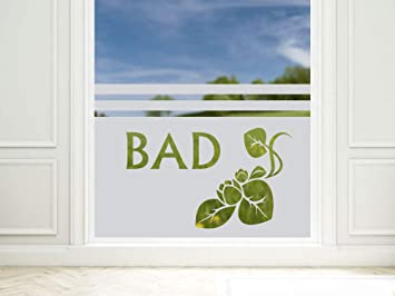 Graz Design 980149_80x57 Sichtschutzfolie Fenstertattoo Fensteraufkleber Deko  Fr Badezimmer Seerose Bad Schrift (Greu003d80x57cm