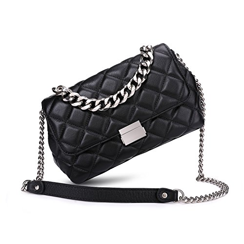 Handbag Quilted Chain (Quilted Leather Crossbody Bags For Women Designer Shoulder Handbags Purse With Metal Chain Strap (Black))