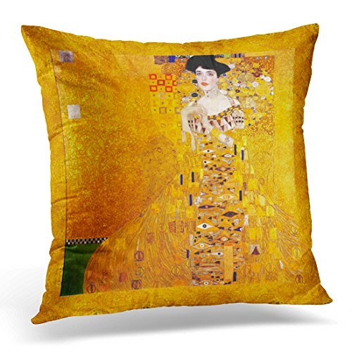 TORASS Throw Pillow Cover Yellow Gold Gustav Klimt Adele Bloch Bauer Vintage Colorful Golden Decorative Pillow Case Home Decor Square 18x18 Inches ()
