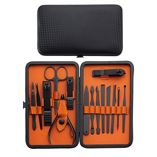 YWQ Professional Manicure Pedicure Set Nail Clippers Kit - Stainless Steel 15 in 1 Portable Travel Grooming Kit - Facial, Cuticle and Nail Care for Men and Women